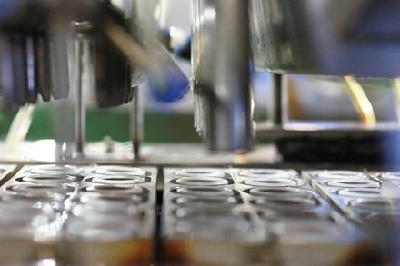 Khâu rót thạch vào cốc trong quy trình sản xuất thạch rau câu